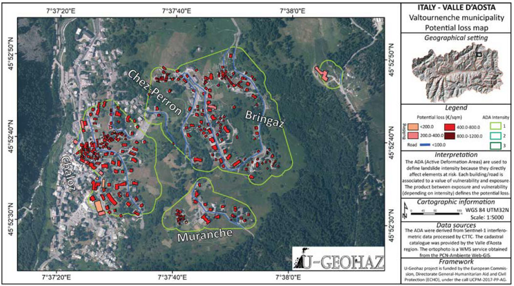 Example of potential loss map for the Valtournenche municipality following the ADA- related intensity estimation