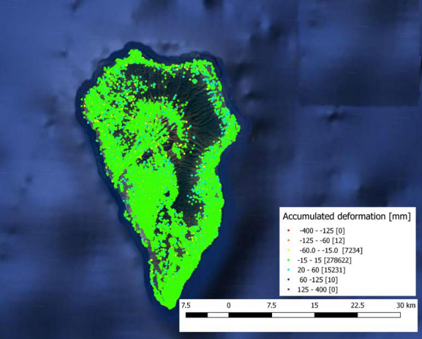 DAM map of La Palma representing the accumulated displacement in the monitored period.