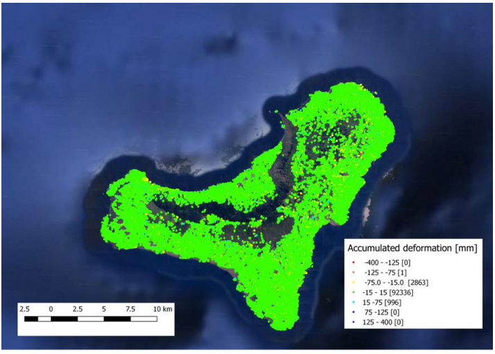 DAM map of el Hierro representing the accumulated displacement in the monitored period.